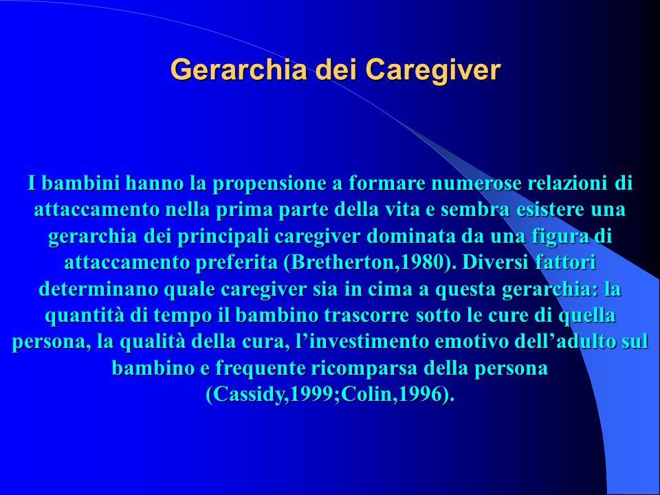 Gerarchia dei Caregiver I bambini hanno la propensione a formare numerose relazioni di attaccamento nella prima parte della vita e sembra esistere una