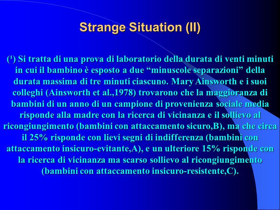 Strange Situation (II) (¹) Si tratta di una prova di laboratorio della durata di venti minuti in cui il bambino è esposto a due minuscole separazioni