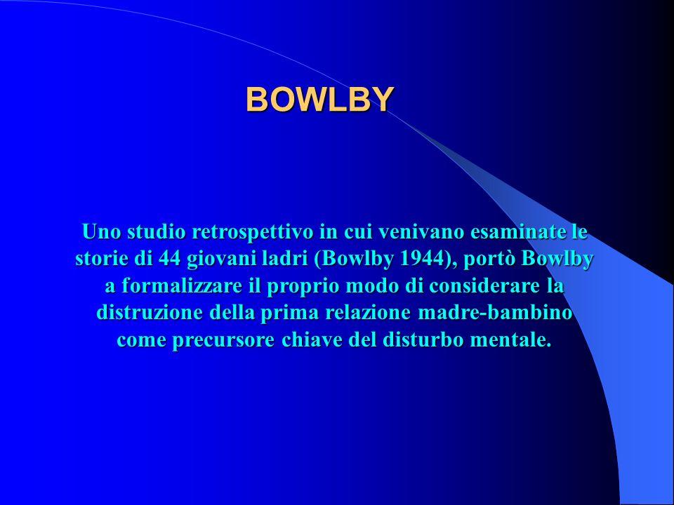 BOWLBY Uno studio retrospettivo in cui venivano esaminate le storie di 44 giovani ladri (Bowlby 1944), portò Bowlby a formalizzare il proprio modo di