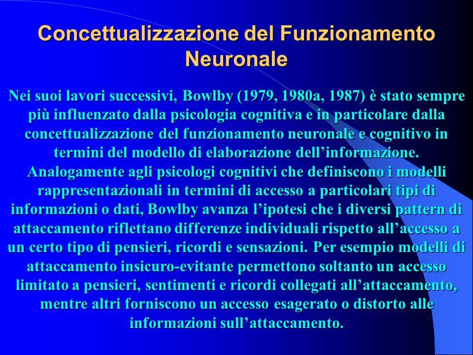 Concettualizzazione del Funzionamento Neuronale Nei suoi lavori successivi, Bowlby (1979, 1980a, 1987) è stato sempre più influenzato dalla psicologia