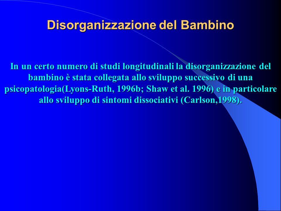 Disorganizzazione del Bambino In un certo numero di studi longitudinali la disorganizzazione del bambino è stata collegata allo sviluppo successivo di