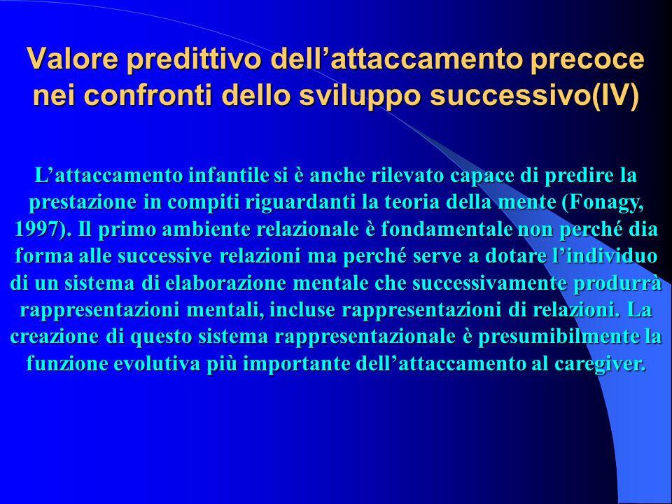 Valore predittivo dellattaccamento precoce nei confronti dello sviluppo successivo(IV) Lattaccamento infantile si è anche rilevato capace di predire l