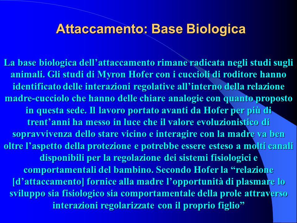 Attaccamento: Base Biologica La base biologica dellattaccamento rimane radicata negli studi sugli animali. Gli studi di Myron Hofer con i cuccioli di