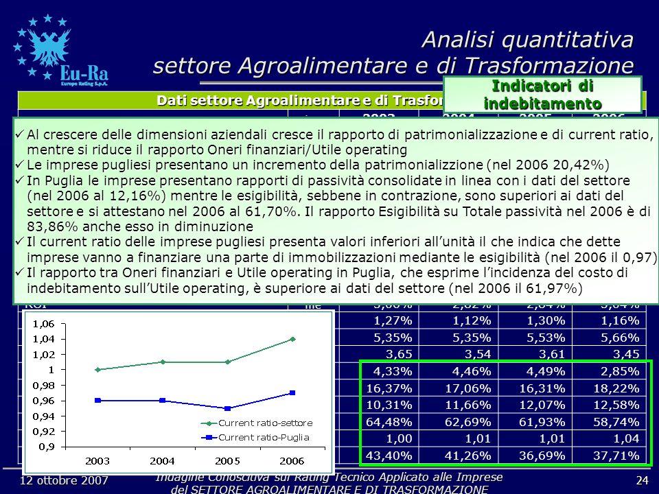 Indagine Conoscitiva sul Rating Tecnico Applicato alle Imprese del SETTORE AGROALIMENTARE E DI TRASFORMAZIONE 12 ottobre 2007 24 Analisi quantitativa