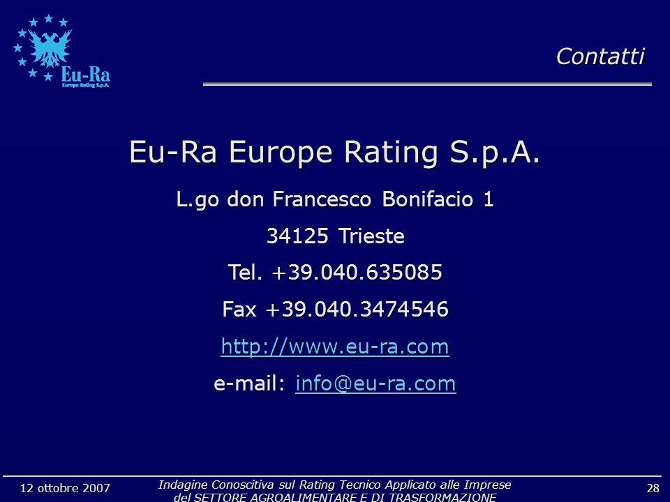 Indagine Conoscitiva sul Rating Tecnico Applicato alle Imprese del SETTORE AGROALIMENTARE E DI TRASFORMAZIONE 12 ottobre 2007 28 Eu-Ra Europe Rating S.p.A.