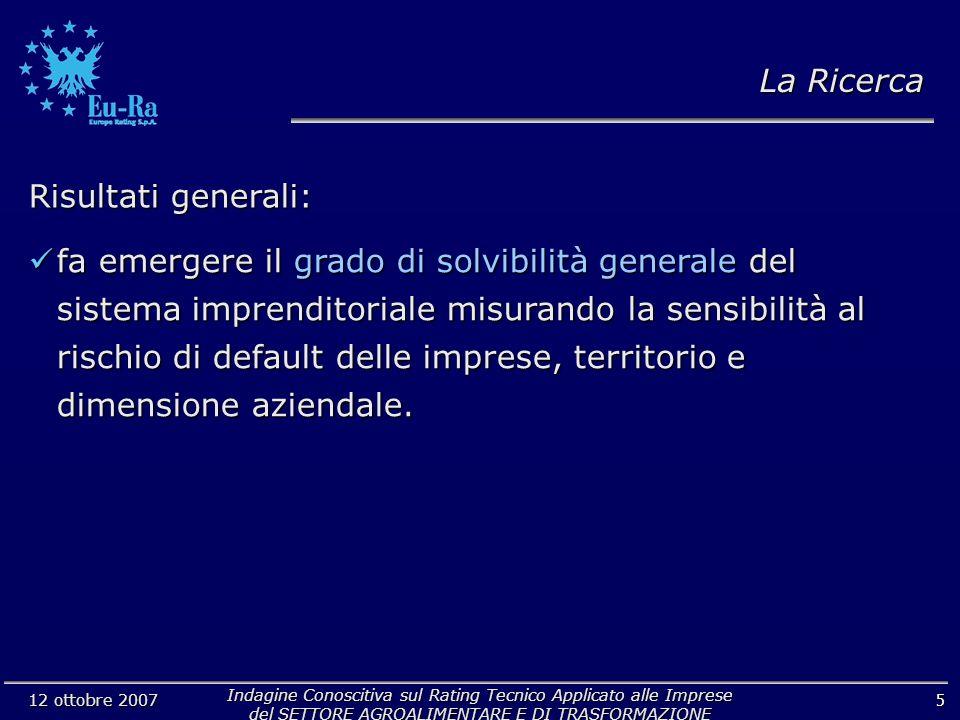 Indagine Conoscitiva sul Rating Tecnico Applicato alle Imprese del SETTORE AGROALIMENTARE E DI TRASFORMAZIONE 12 ottobre 2007 5 Risultati generali: La