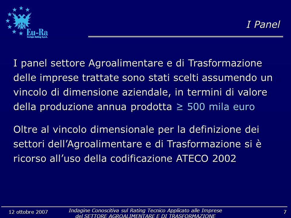 Indagine Conoscitiva sul Rating Tecnico Applicato alle Imprese del SETTORE AGROALIMENTARE E DI TRASFORMAZIONE 12 ottobre 2007 7 I panel settore Agroal