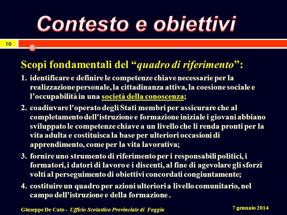 7 gennaio 2014 Giuseppe De Cato - Ufficio Scolastico Provinciale di Foggia 10 Scopi fondamentali del quadro di riferimento: 1.identificare e definire