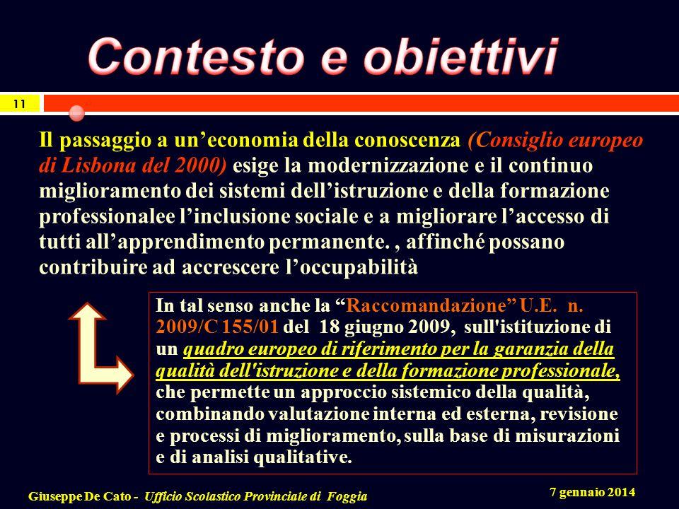 7 gennaio 2014 Giuseppe De Cato - Ufficio Scolastico Provinciale di Foggia 11 Il passaggio a uneconomia della conoscenza (Consiglio europeo di Lisbona