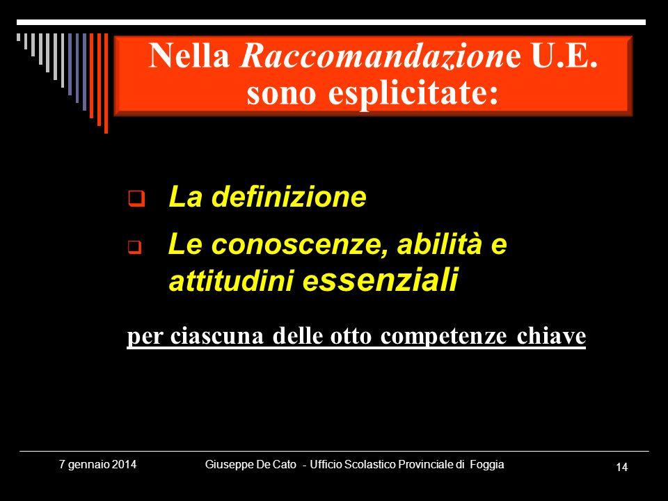 Giuseppe De Cato - Ufficio Scolastico Provinciale di Foggia 14 7 gennaio 2014 La definizione Le conoscenze, abilità e attitudini e ssenziali per ciasc
