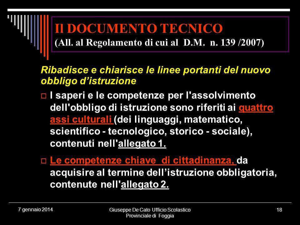 Giuseppe De Cato Ufficio Scolastico Provinciale di Foggia 18 7 gennaio 2014 Il DOCUMENTO TECNICO (All. al Regolamento di cui al D.M. n. 139 /2007) Rib