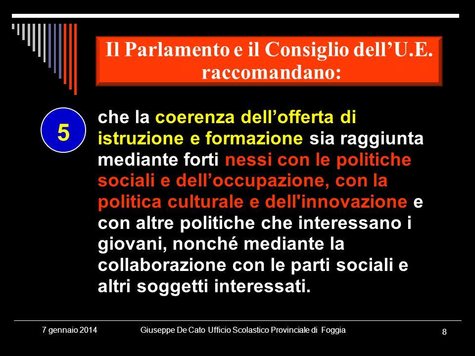 Giuseppe De Cato Ufficio Scolastico Provinciale di Foggia 8 7 gennaio 2014 che la coerenza dellofferta di istruzione e formazione sia raggiunta median