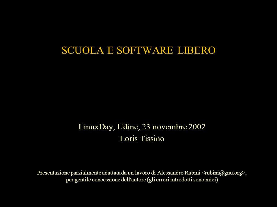 SCUOLA E SOFTWARE LIBERO LinuxDay, Udine, 23 novembre 2002 Loris Tissino Presentazione parzialmente adattata da un lavoro di Alessandro Rubini, per ge