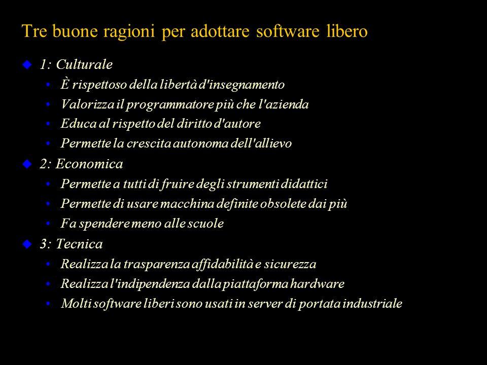 Tre buone ragioni per adottare software libero 1: Culturale È rispettoso della libertà d'insegnamento Valorizza il programmatore più che l'azienda Edu