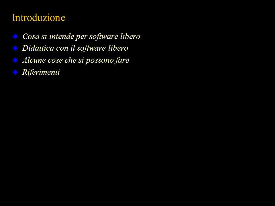 Introduzione Cosa si intende per software libero Didattica con il software libero Alcune cose che si possono fare Riferimenti