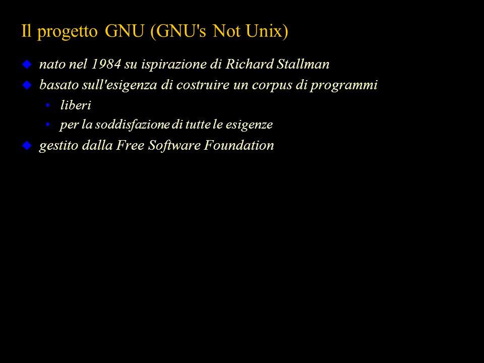 Il progetto GNU (GNU's Not Unix) nato nel 1984 su ispirazione di Richard Stallman basato sull'esigenza di costruire un corpus di programmi liberi per