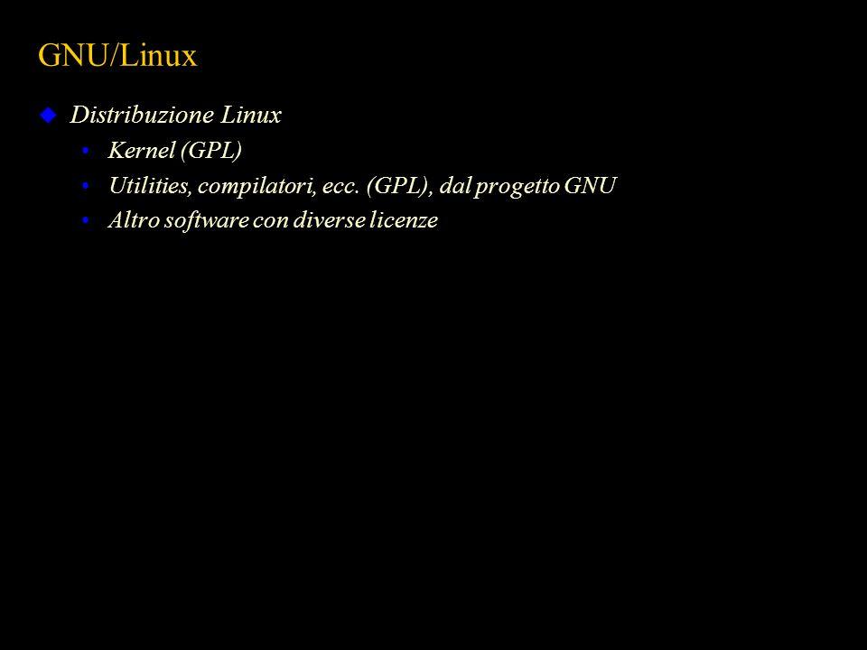 GNU/Linux Distribuzione Linux Kernel (GPL) Utilities, compilatori, ecc. (GPL), dal progetto GNU Altro software con diverse licenze