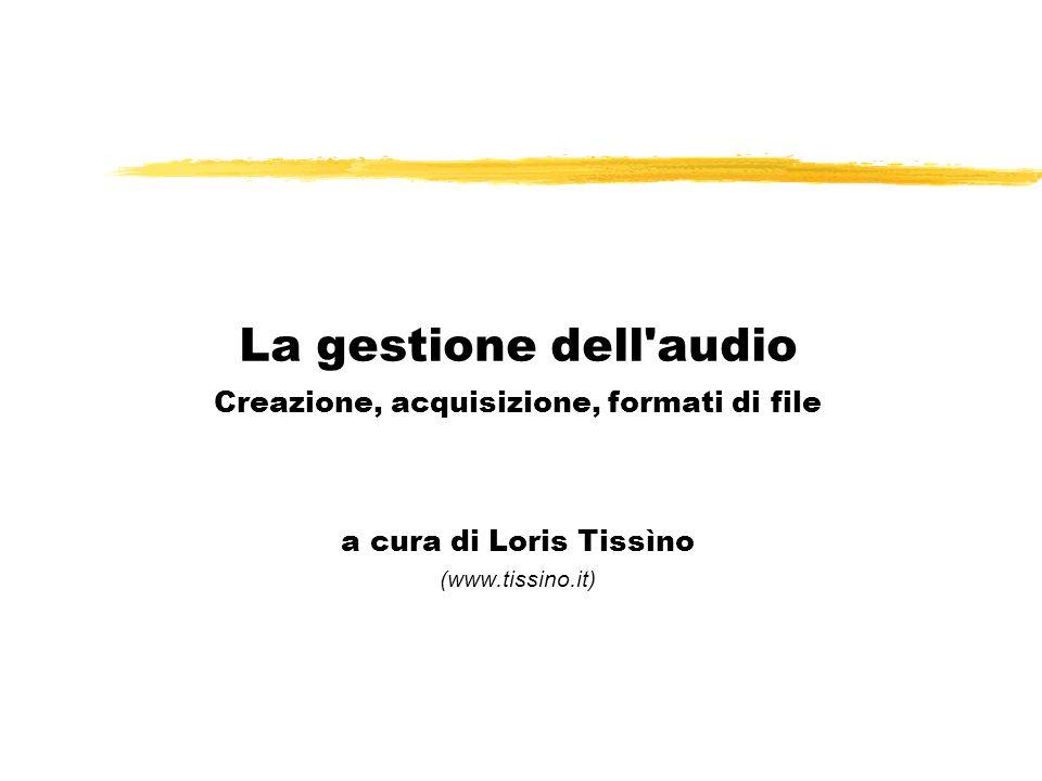 La gestione dell audio Creazione, acquisizione, formati di file a cura di Loris Tissìno (www.tissino.it)