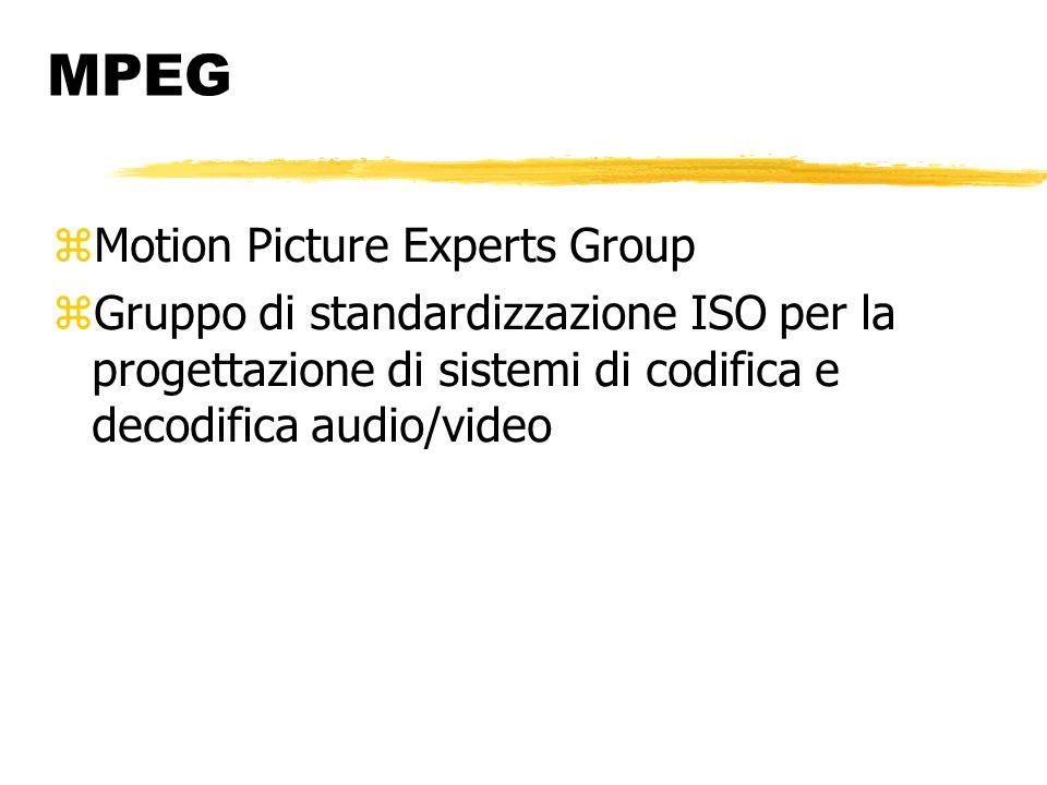 MPEG-1 (1993) Qualità di uscita pari a quella di un videoregistratore (video CD) Tre livelli per la codifica audio: layer 1 (compressione 4:1) layer 2 (compressione 6-8:1) layer 3 (compressione 12-14:1)