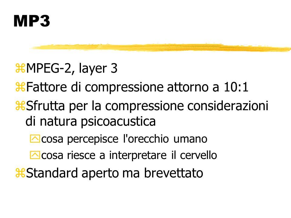 MP3 MPEG-2, layer 3 Fattore di compressione attorno a 10:1 Sfrutta per la compressione considerazioni di natura psicoacustica cosa percepisce l orecchio umano cosa riesce a interpretare il cervello Standard aperto ma brevettato