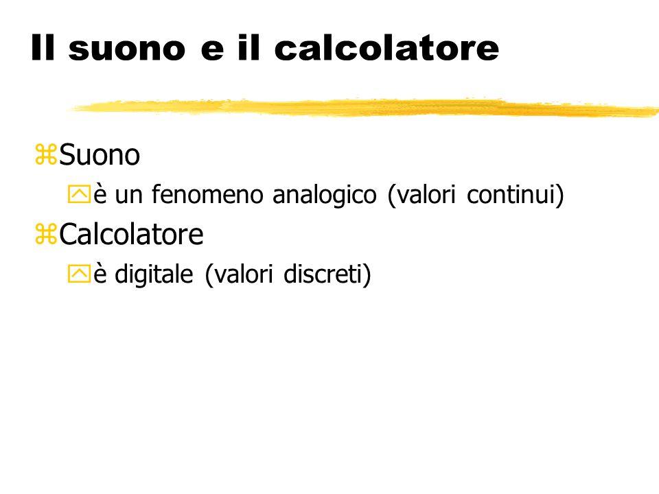 Il suono e il calcolatore Suono è un fenomeno analogico (valori continui) Calcolatore è digitale (valori discreti)