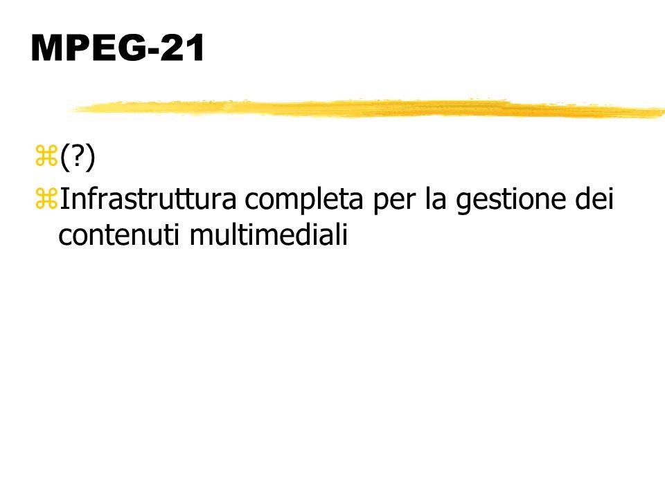MPEG-21 ( ) Infrastruttura completa per la gestione dei contenuti multimediali
