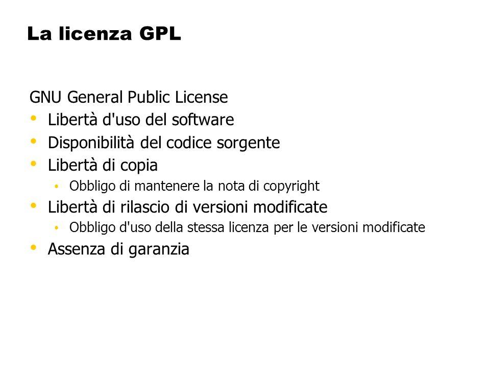 La licenza GPL GNU General Public License Libertà d'uso del software Disponibilità del codice sorgente Libertà di copia Obbligo di mantenere la nota d