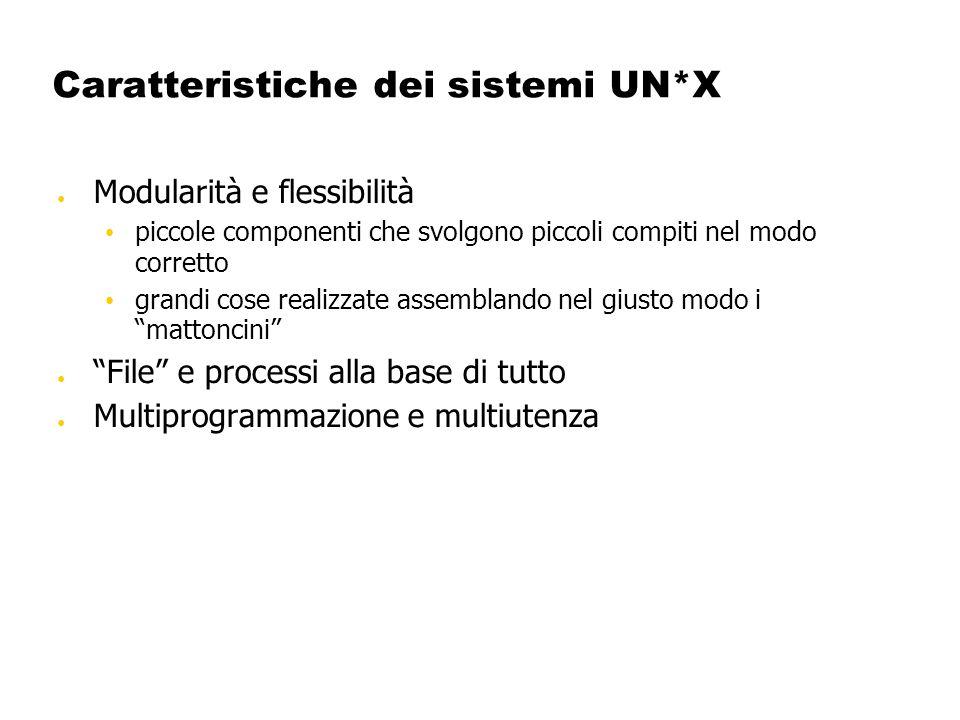 Caratteristiche dei sistemi UN*X Modularità e flessibilità piccole componenti che svolgono piccoli compiti nel modo corretto grandi cose realizzate as