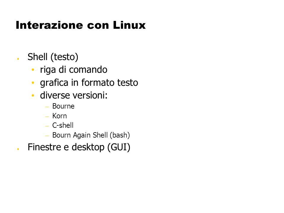 Interazione con Linux Shell (testo) riga di comando grafica in formato testo diverse versioni: – Bourne – Korn – C-shell – Bourn Again Shell (bash) Fi