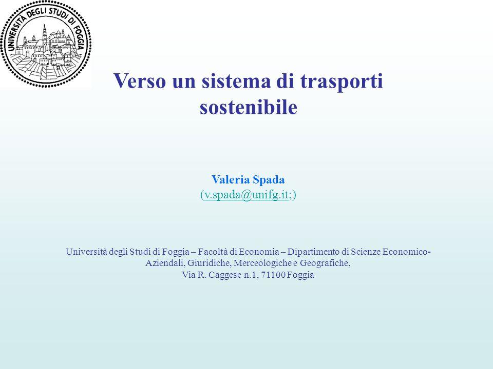 Verso un sistema di trasporti sostenibile Valeria Spada (v.spada@unifg.it;)v.spada@unifg.it Università degli Studi di Foggia – Facoltà di Economia – D