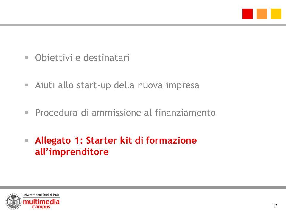 17 Obiettivi e destinatari Aiuti allo start-up della nuova impresa Procedura di ammissione al finanziamento Allegato 1: Starter kit di formazione allimprenditore