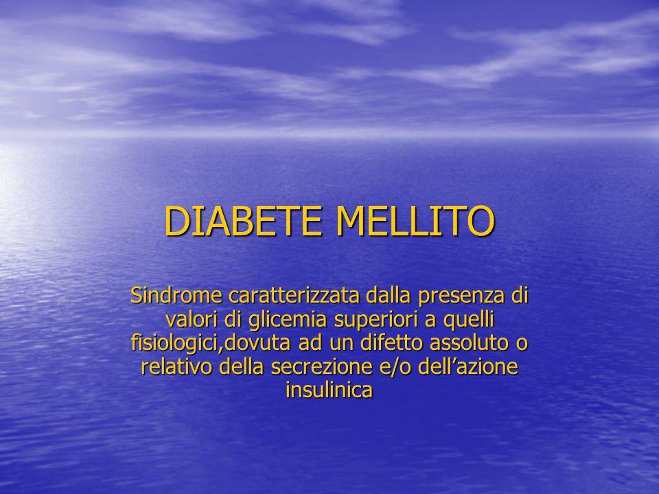 DIABETE MELLITO Sindrome caratterizzata dalla presenza di valori di glicemia superiori a quelli fisiologici,dovuta ad un difetto assoluto o relativo d