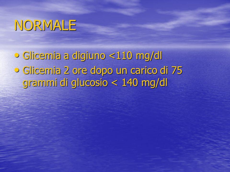 NORMALE Glicemia a digiuno <110 mg/dl Glicemia a digiuno <110 mg/dl Glicemia 2 ore dopo un carico di 75 grammi di glucosio < 140 mg/dl Glicemia 2 ore