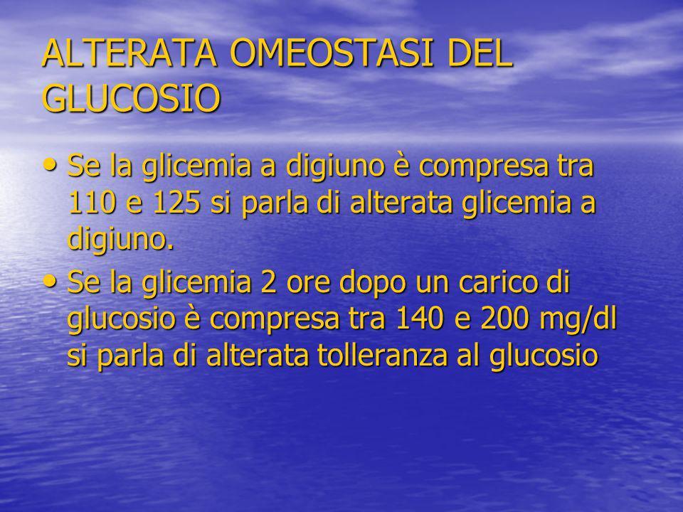 ALTERATA OMEOSTASI DEL GLUCOSIO Se la glicemia a digiuno è compresa tra 110 e 125 si parla di alterata glicemia a digiuno. Se la glicemia a digiuno è