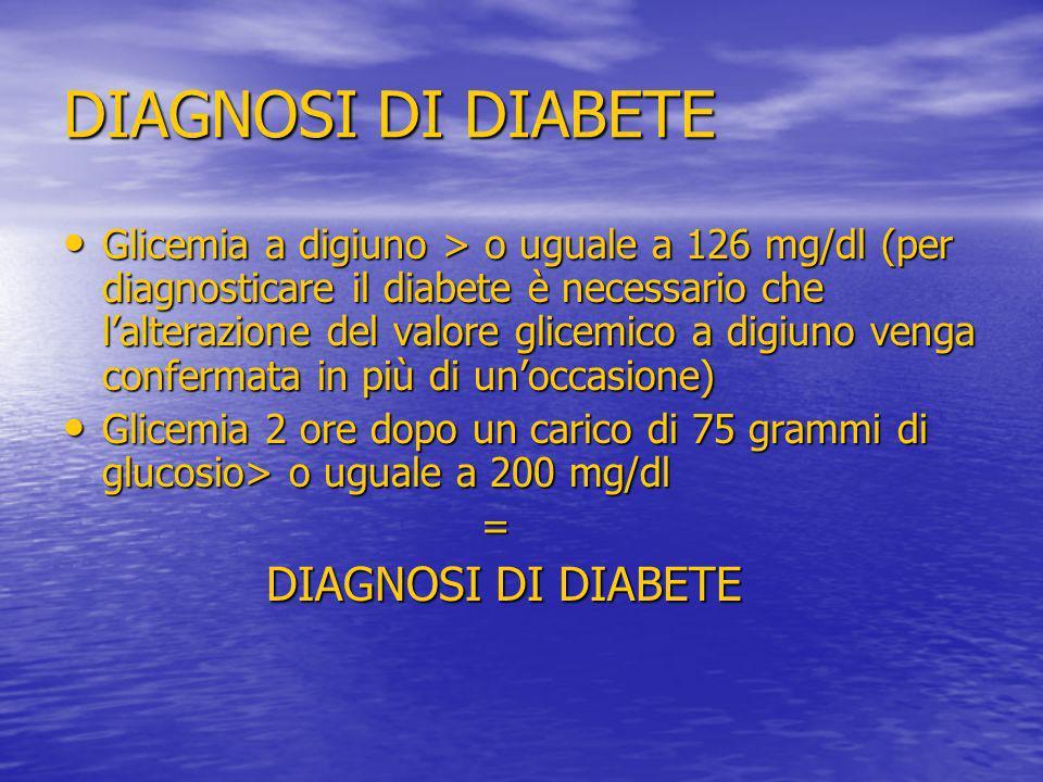 DIAGNOSI DI DIABETE Glicemia a digiuno > o uguale a 126 mg/dl (per diagnosticare il diabete è necessario che lalterazione del valore glicemico a digiu