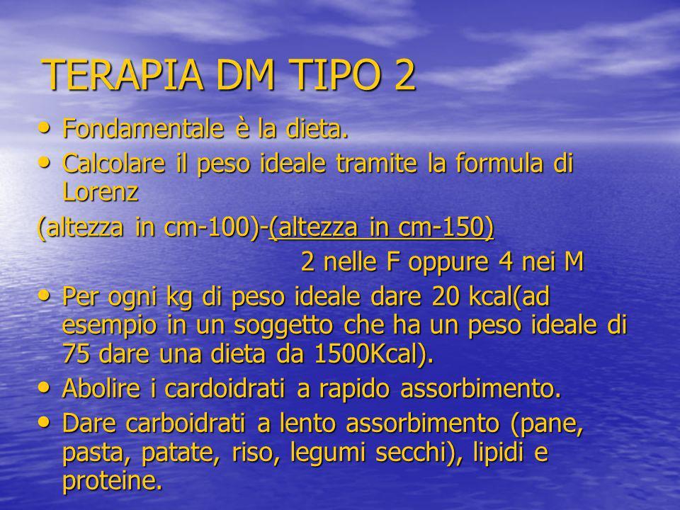 TERAPIA DM TIPO 2 Fondamentale è la dieta. Fondamentale è la dieta. Calcolare il peso ideale tramite la formula di Lorenz Calcolare il peso ideale tra