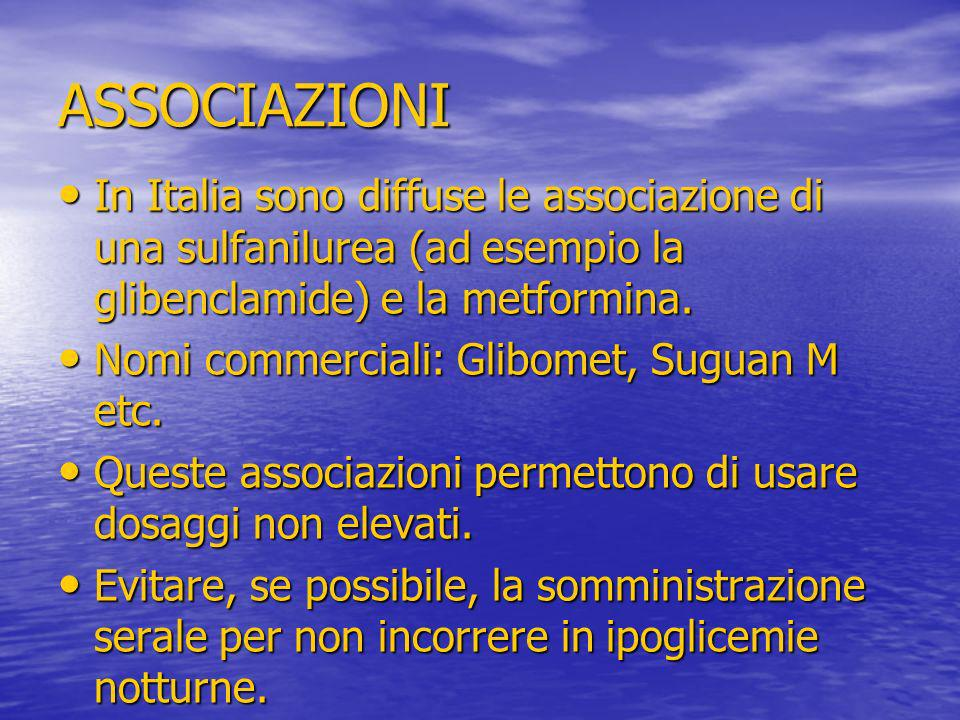 ASSOCIAZIONI In Italia sono diffuse le associazione di una sulfanilurea (ad esempio la glibenclamide) e la metformina. In Italia sono diffuse le assoc