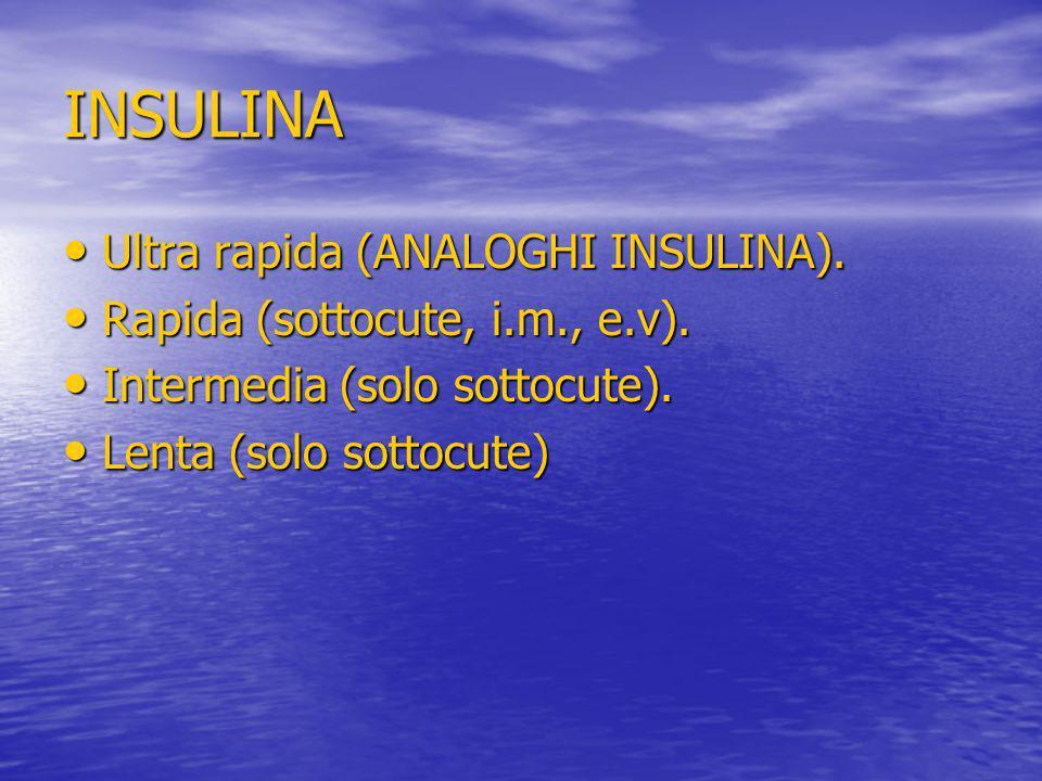 INSULINA Ultra rapida (ANALOGHI INSULINA). Ultra rapida (ANALOGHI INSULINA). Rapida (sottocute, i.m., e.v). Rapida (sottocute, i.m., e.v). Intermedia