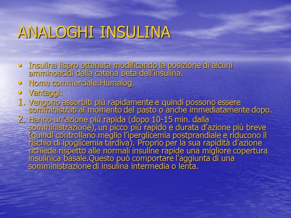 ANALOGHI INSULINA Insulina lispro ottenuta modificando la posizione di alcuni amminoacidi della catena beta dellinsulina. Insulina lispro ottenuta mod