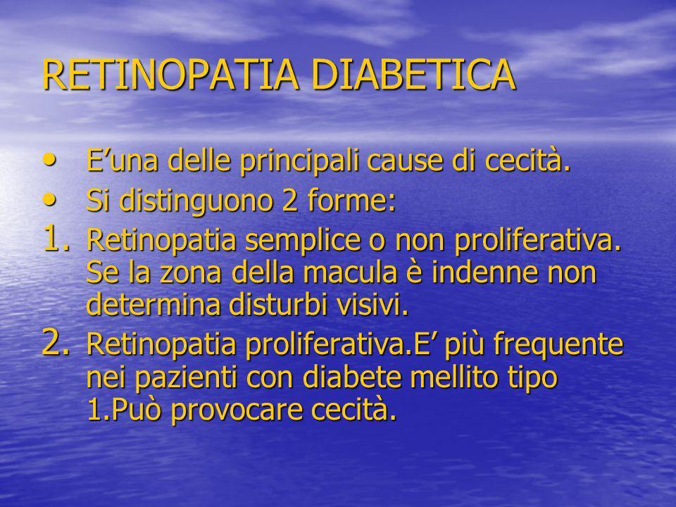 RETINOPATIA DIABETICA Euna delle principali cause di cecità. Euna delle principali cause di cecità. Si distinguono 2 forme: Si distinguono 2 forme: 1.
