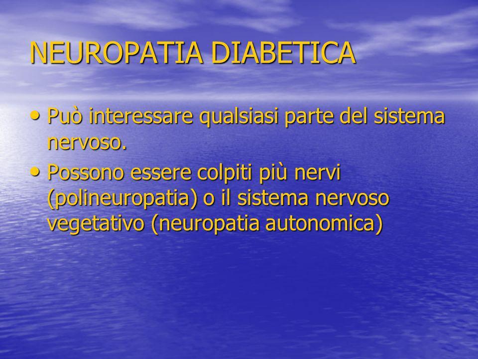 NEUROPATIA DIABETICA Può interessare qualsiasi parte del sistema nervoso. Può interessare qualsiasi parte del sistema nervoso. Possono essere colpiti