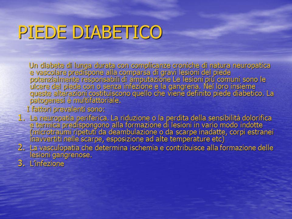 PIEDE DIABETICO Un diabete di lunga durata con complicanze croniche di natura neuropatica e vascolare predispone alla comparsa di gravi lesioni del pi