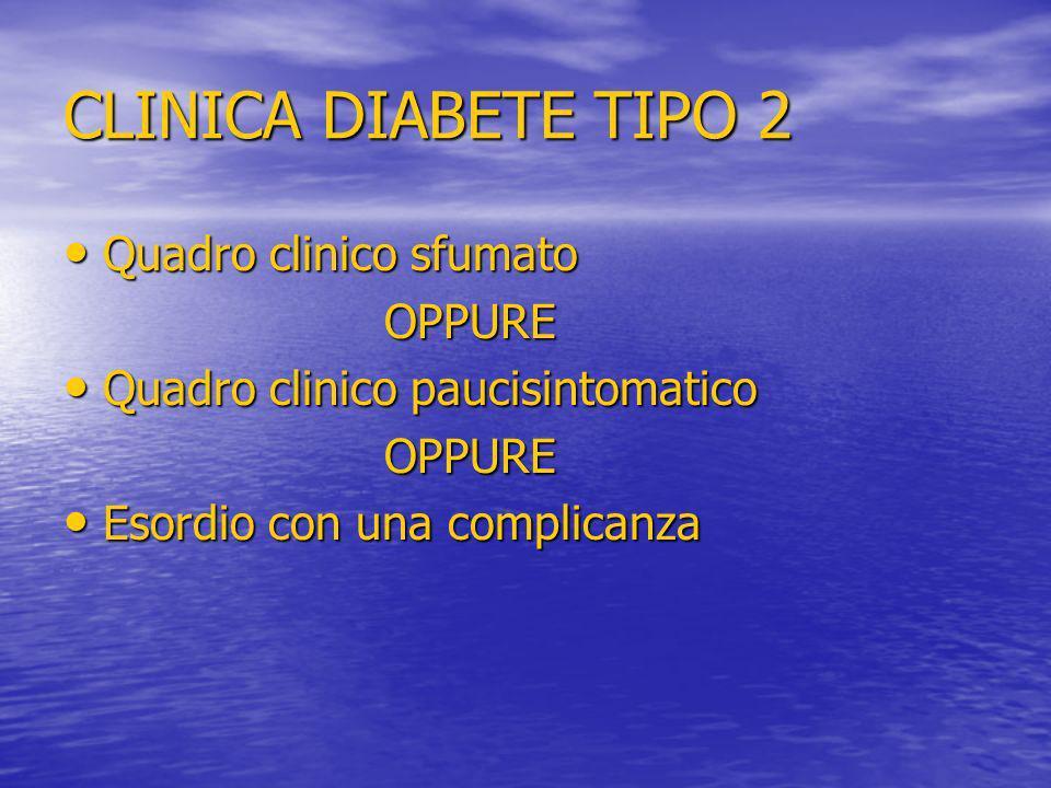 CLINICA DIABETE TIPO 2 Quadro clinico sfumato Quadro clinico sfumato OPPURE OPPURE Quadro clinico paucisintomatico Quadro clinico paucisintomatico OPP