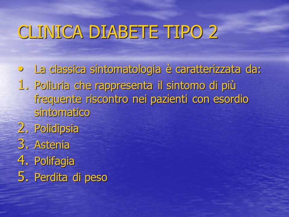 CLINICA DIABETE TIPO 2 La classica sintomatologia è caratterizzata da: La classica sintomatologia è caratterizzata da: 1. Poliuria che rappresenta il