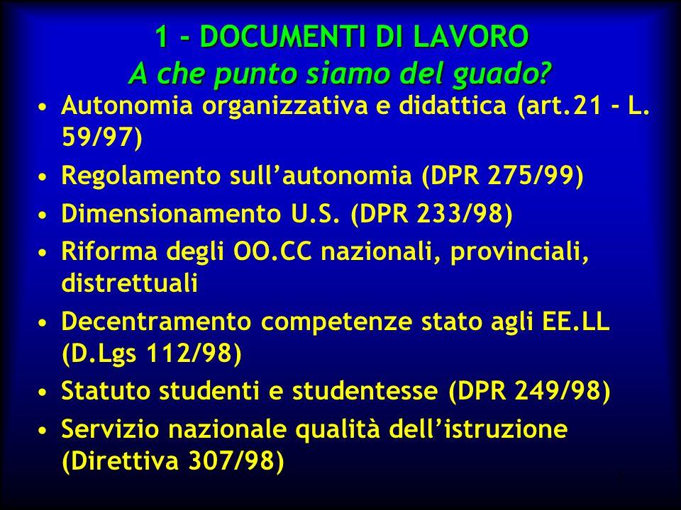 3...E poi ancora Innalzamento dellobbligo scolastico (L.9/99) CCNL - e Contratto decentrato (31.08.99) D.M.