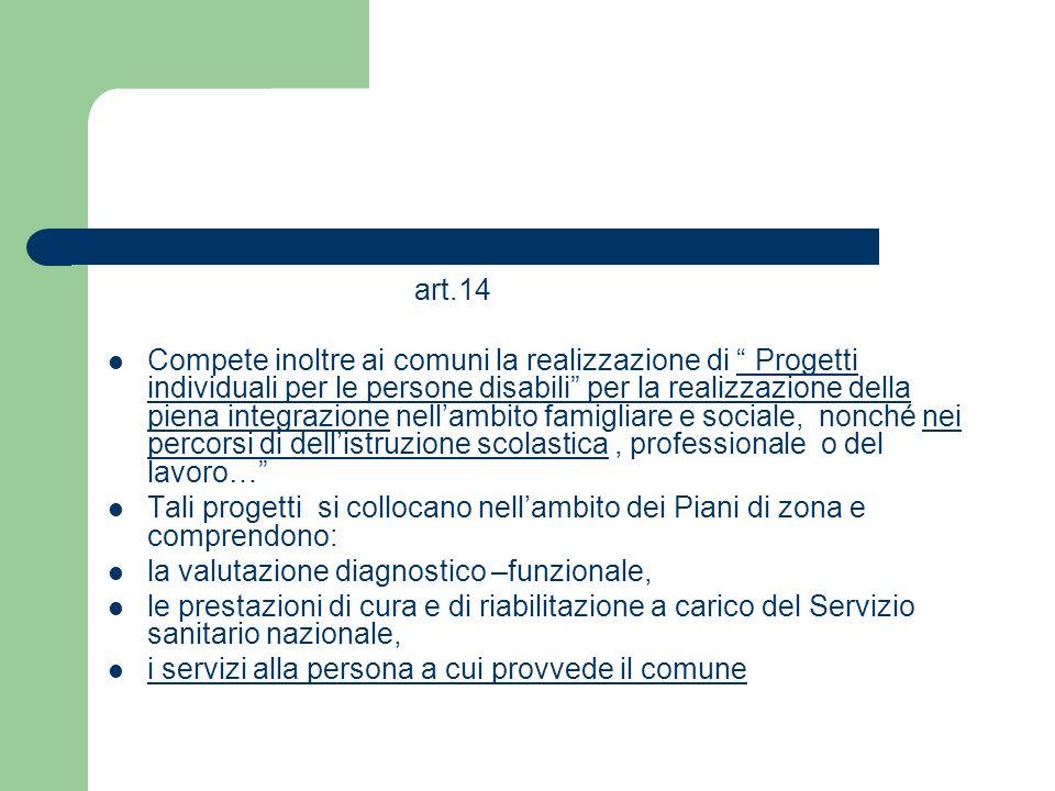 art.14 Compete inoltre ai comuni la realizzazione di Progetti individuali per le persone disabili per la realizzazione della piena integrazione nellam