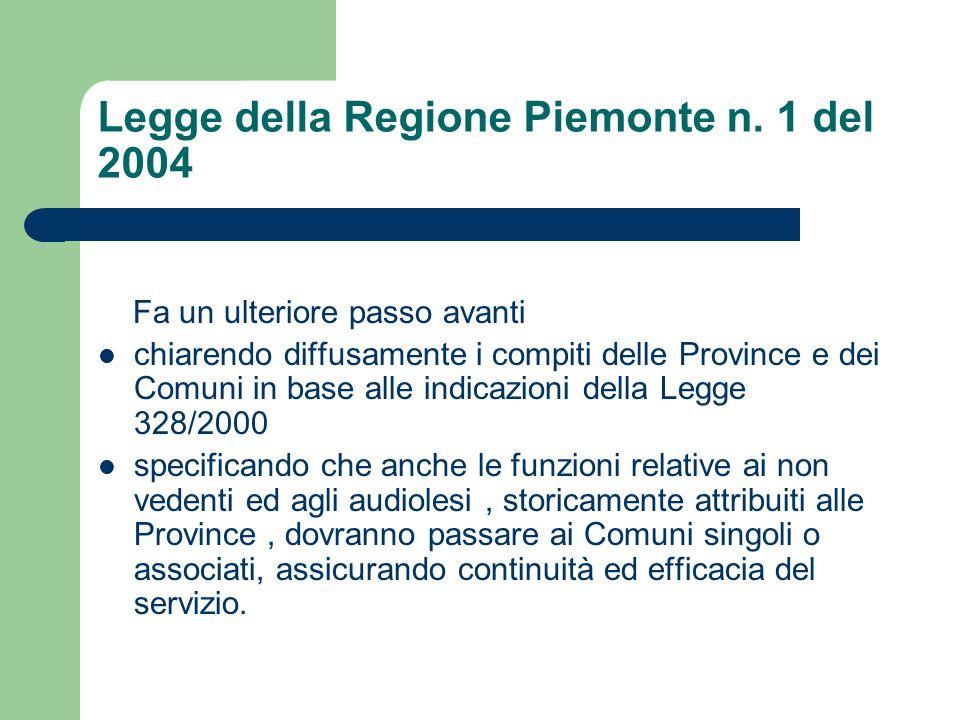 Legge della Regione Piemonte n. 1 del 2004 Fa un ulteriore passo avanti chiarendo diffusamente i compiti delle Province e dei Comuni in base alle indi