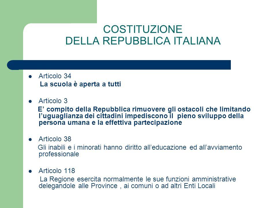 COSTITUZIONE DELLA REPUBBLICA ITALIANA Articolo 34 La scuola è aperta a tutti Articolo 3 E compito della Repubblica rimuovere gli ostacoli che limitan