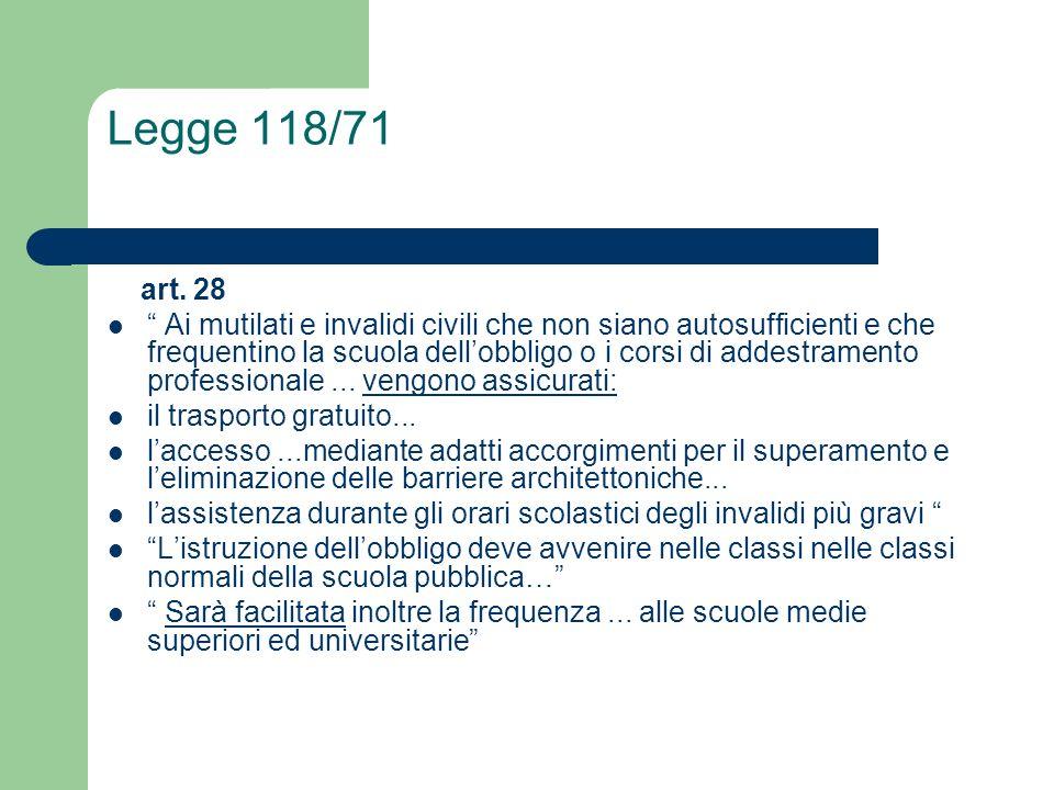 Legge 118/71 art. 28 Ai mutilati e invalidi civili che non siano autosufficienti e che frequentino la scuola dellobbligo o i corsi di addestramento pr
