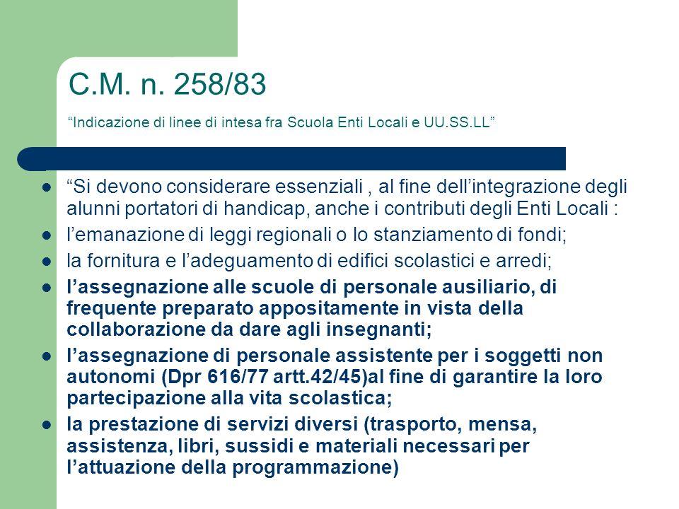 C.M. n. 258/83 Indicazione di linee di intesa fra Scuola Enti Locali e UU.SS.LL Si devono considerare essenziali, al fine dellintegrazione degli alunn